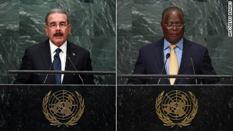 Danilo Medina Sanchez, the president of the Dominican Republic (L) and Jocelerme Privert, the interim president of Haiti.