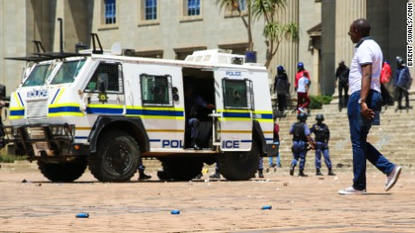 Rubber bullet casings and stones litter the main square at the University of Witwatersrand (Wits) in Johannesburg.