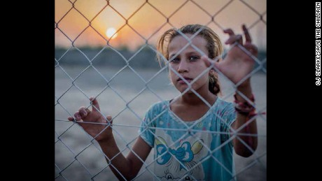 Fighting in Iraq forced Saja, 11, and her family to flee. They now live in a  camp for displaced people.