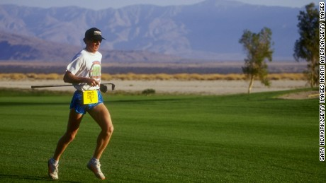 Steve Scott runs to his ball during the Powerbar Speedgolf Tournament in 1993. It was only recently that players were made to carry all their own clubs.
