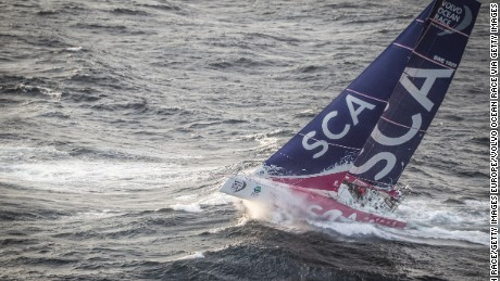 AT SEA - JUNE 09:  In this handout image provided by the Volvo Ocean Race, Team SCA passing by Costa da Morte - Coast of Death - in Spanish waters during the sailing of Leg 8 on June 8, 2015 between Lisbon, Portugal and L'Orient, France. The Volvo Ocean Race 2014-15 is the 12th running of this ocean marathon. Starting from Alicante in Spain on October 04, 2014, the route, spanning some 39,379 nautical miles, visits 11 ports in eleven countries (Spain, South Africa, United Arab Emirates, China, New Zealand, Brazil, United States, Portugal, France, The Netherlands and Sweden) over nine months. The Volvo Ocean Race is the world's premier ocean yacht race for professional racing crews. (Photo by Ainhoa Sanchez/Volvo Ocean Race via Getty Images)