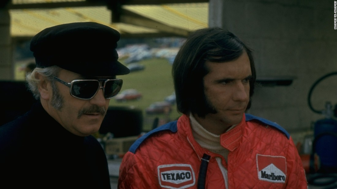 "Fittipaldi is seen here with his old Lotus boss Colin Chapman but it was with McLaren that Fittipaldi won a second F1 title in 1974. He says of his son's F1 ambitions: ""To go all the way to Formula One is very difficult."""