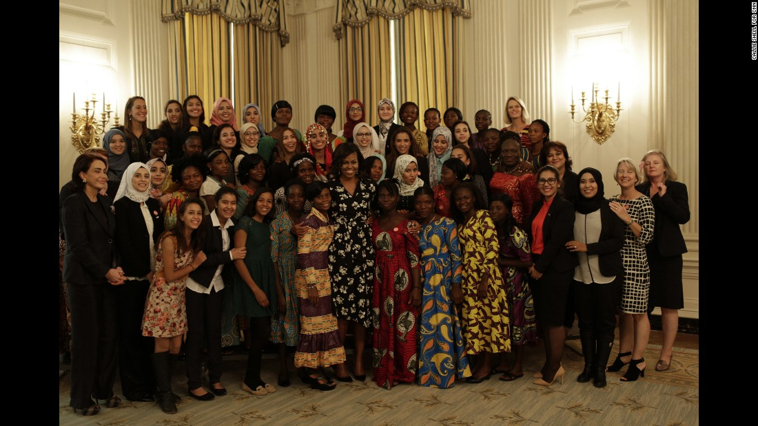 "In the <a href=""http://www.cnn.com/shows/cnn-films-we-will-rise"" target=""_blank"">CNN Film ""We Will Rise,""</a> Michelle Obama travels to Morocco and Liberia to meet young women overcoming incredible odds to pursue an education. Here, Obama poses with a group that includes some of the girls featured in the film at a screening held at the White House on Tuesday, October 11."
