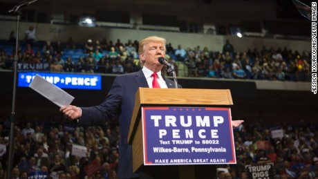 Republican presidential nominee Donald Trump holds a campaign rally on October 10, 2016 in Wilkes-Barre, Pennsylvania.