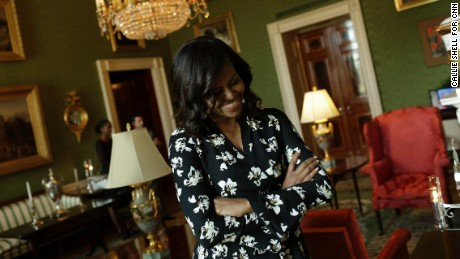 Michelle Obama smiles. Taken in the Green Room.
