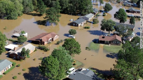 Floodwaters surround houses in Rocky Mount, North Carolina, near the Tar River on Monday.