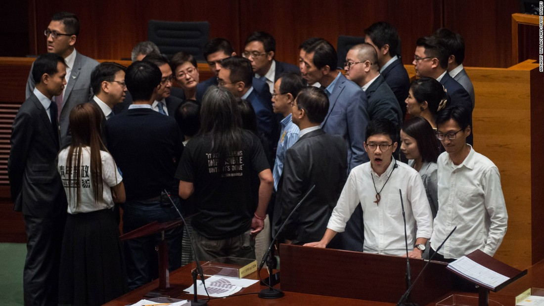 "Hong Kong rebel lawmakers shouted, banged drums and railed against ""tyranny"" on Wednesday when they took their oaths of office, as calls grow for a split from Beijing."