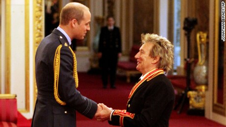 Sir Rod  receives his knighthood from Prince William at Buckingham Palace, London.