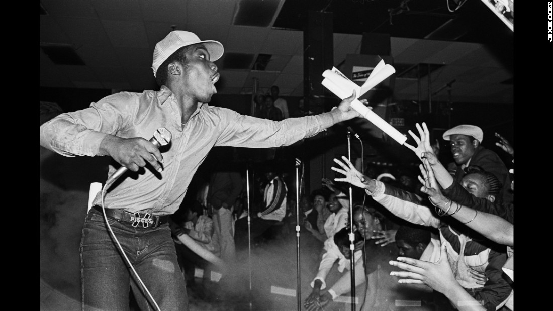 "The Almighty Kay Gee, of the hip-hop group the Cold Crush Brothers, performs in New York in 1981. Joe Conzo's photography is considered a huge inspiration for the aesthetic of the Netflix series ""The Get Down,"" which tracks the early stages of hip-hop music. ""This was pre-Internet, pre-social media, pre-everything,"" Conzo said."