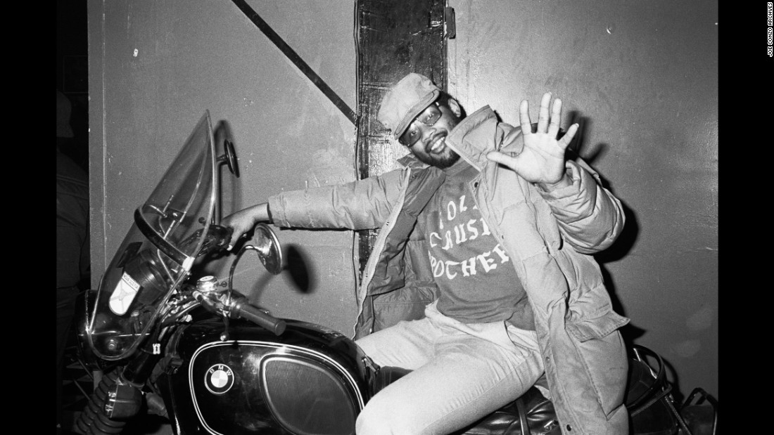 "KK on a motorcycle in 1981. ""Those were all iron-on letters, which was a big thing back then,"" Conzo said. ""You wanted to be part of a group, you'd get a sweatshirt, go to a five-and-dime store and get these iron-on letters. And you'd lay it out, iron them on and show your allegiance to whoever you were down with."""