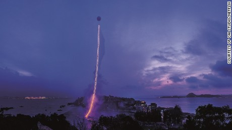 "Cai Guo Qiang's ""Sky Ladder."" Photo: Courtesy of Cai Studio/Netflix ©"