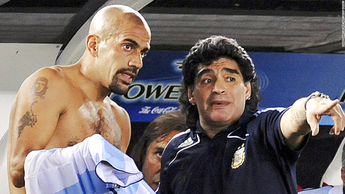 Maradona coached Argentina's national football team from 2008-2010, for whom Veron gained 78 caps before retiring in 2010.