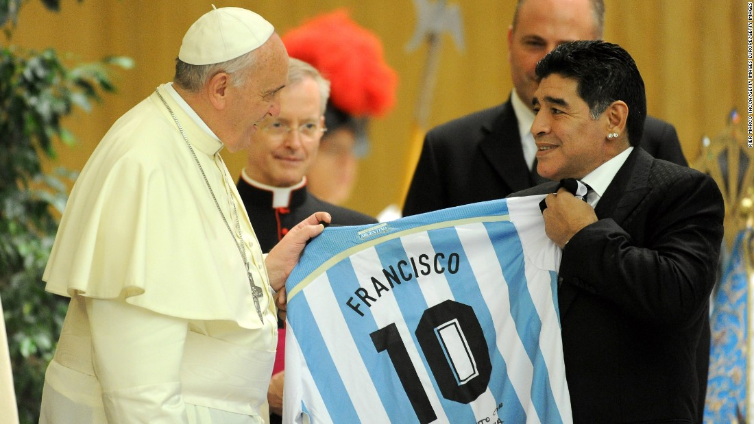 Maradona also starred in the 2014 peace charity game, which was again hosted by Pope Francis.