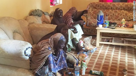 Some of the released Chibok girls in Banki, Nigeria, near the Cameroon border. One of the girls has been named as Rebecca Mallum.