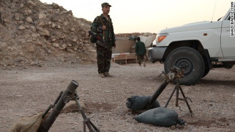 Old Soviet-era mortars at a Peshmerga forward base on a mountain overlooking Mosul