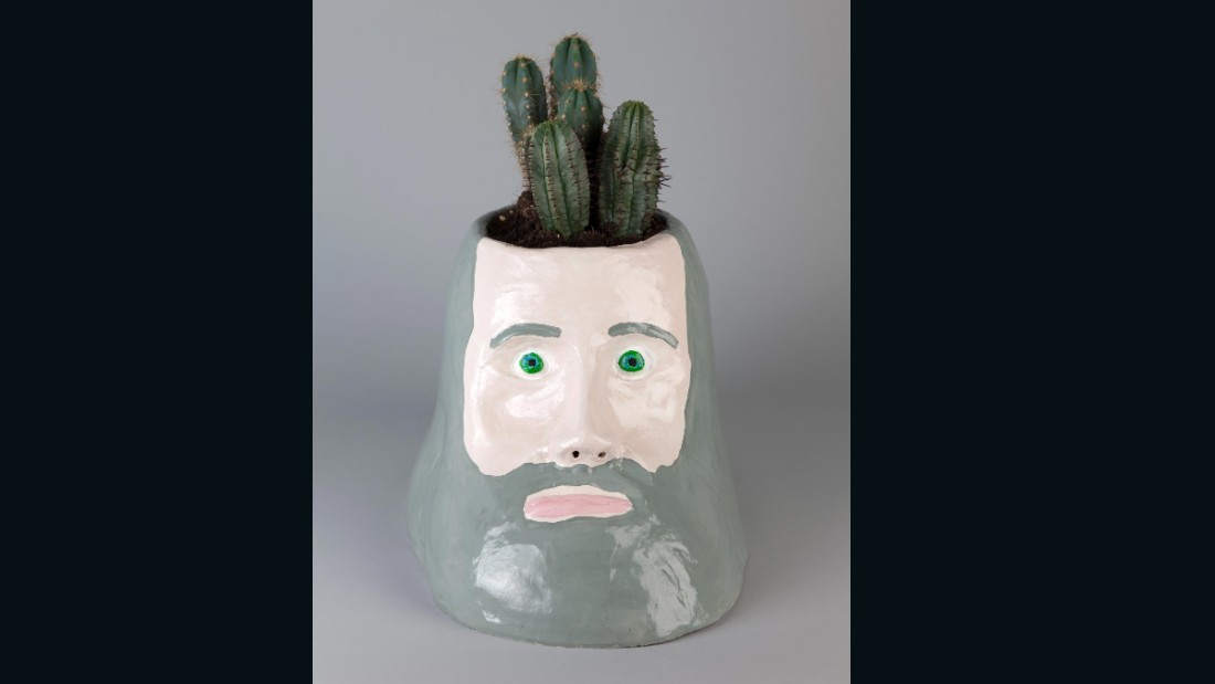 """The Philosopher"" (2008), painted ceramic and cacti.<br />"