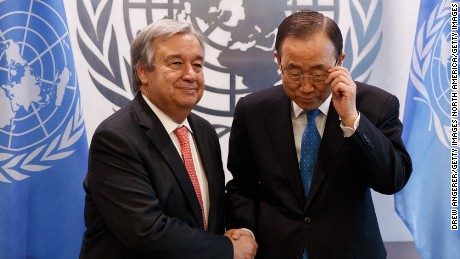NEW YORK, NY - OCTOBER 13: (L to R) Newly-elected United Nations Secretary General-designate Antonio Guterres and outgoing secretary general Ban Ki-moon shake hands during a photo opportunity at the United Nations (UN) headquarters October 13, 2016 in New York City. Guterres, a former prime minister of Portugal, will replace outgoing secretary general Ban Ki-moon starting in January 2017. (Photo by Drew Angerer/Getty Images)
