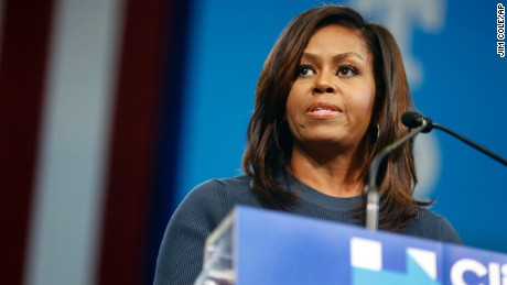 """The men that you and I know don't treat women this way,"" First Lady Michelle Obama told the rally."