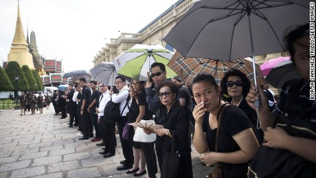 Thai people attend royal bathing ceremony at The Grand Palace.