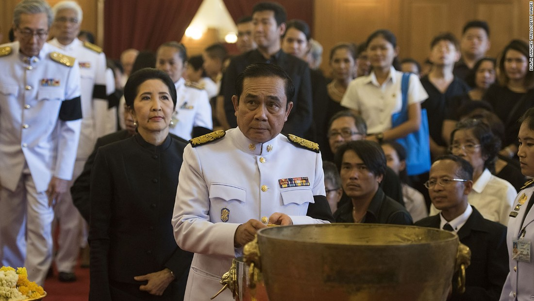 Thai Prime Minister General Prayuth Chan-o-cha attends a traditional funeral bathing ceremony for the King at the Grand Palace in Bangkok on Friday.