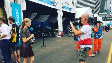 Nicki Shields filming in the pit lane ahead of Sunday's Hong Kong ePrix