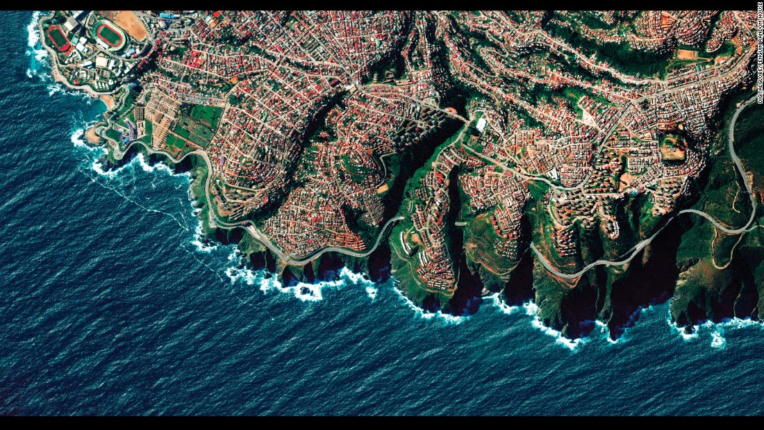 "Valparaiso, Chile, is built upon dozens of steep hillsides overlooking the Pacific Ocean, and the city is known as ""The Jewel of the Pacific."" This is one of the satellite images from Benjamin Grant's upcoming book, ""Overview: A New Perspective of Earth."""