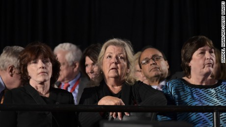 Bill Clinton accusers Kathleen Willey (L), Juanita Broaddrick (C) and rape victim Kathy Shelton are seated for the second presidential debate between Republican presidential nominee Donald Trump and Democratic contender Hillary Clinton at Washington University in St. Louis, Missouri on October 9, 2016. / AFP / MANDEL NGAN        (Photo credit should read MANDEL NGAN/AFP/Getty Images)