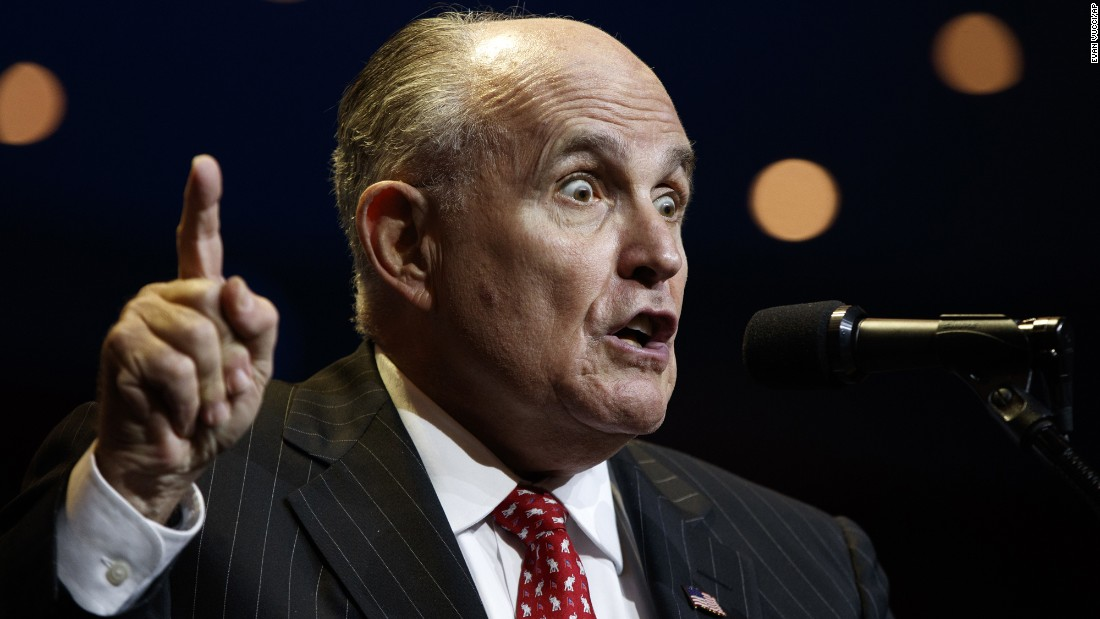 Former New York Mayor Rudy Giuliani introduces Donald Trump, the Republican presidential nominee, at a campaign rally in Cincinnati, Ohio, on Thursday, October 13.