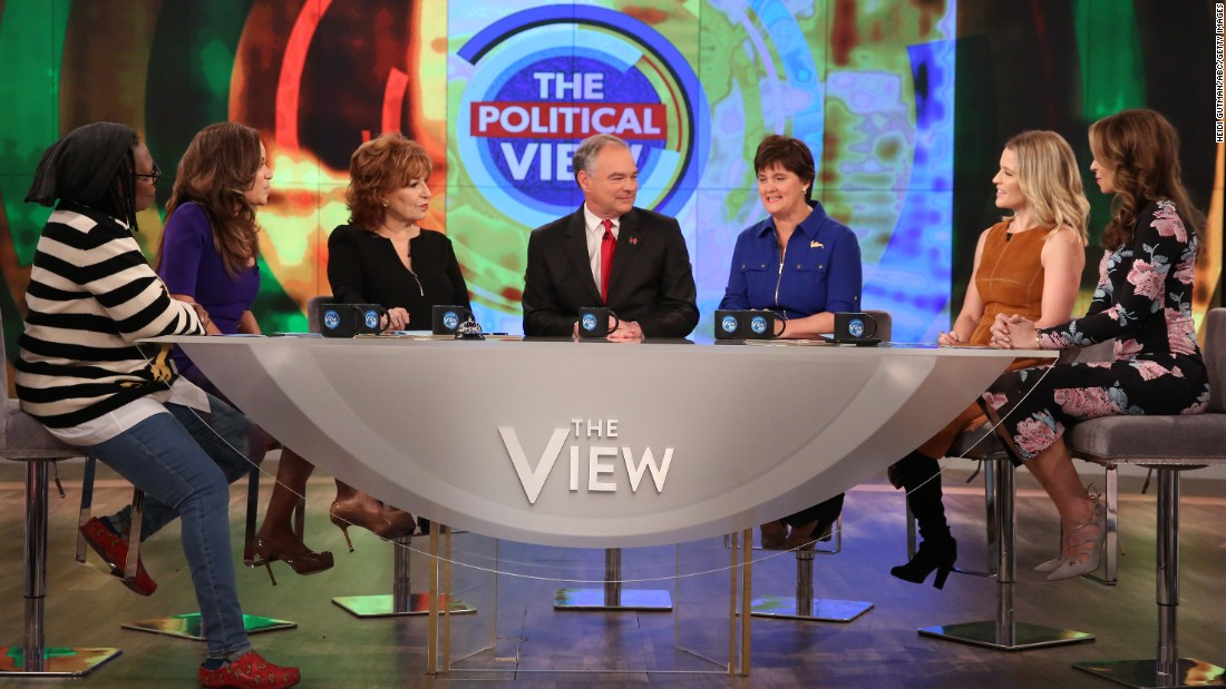 "Democratic vice presidential nominee Tim Kaine, center, appears with his wife Anne Holton, third from right, on the television show ""The View"" in New York on Thursday, October 13."