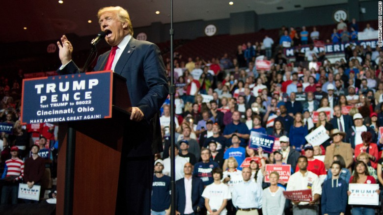Donald Trump speaks to a crowd of attendees at U.S. Bank Arena on October 13, 2016 in Cincinnati, Ohio.