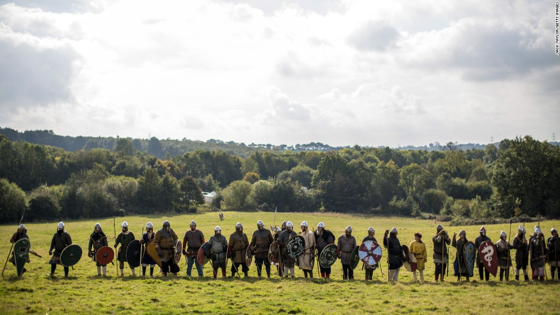 Participants prepare to take part in a demonstration ahead of the Battle of Hastings re-enactment.