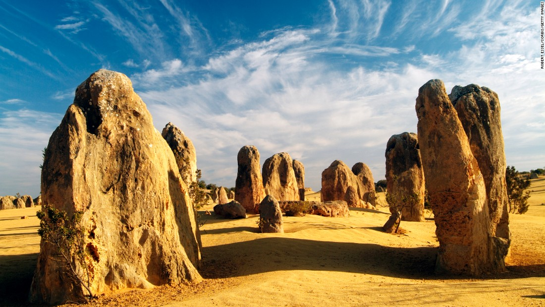 There's not a soul in sight here to yammer to you about politics. Among remote Western Australia's stunners are the Pinnacles, thousands of limestone spires that pierce the sand dunes of Nambung National Park. Made up of shells, the Pinnacles were formed millions of years ago when this desert was the sea floor.