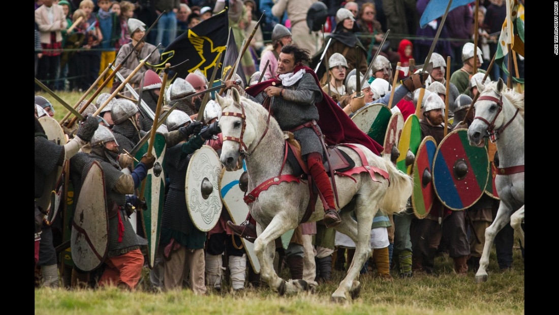 Michael Sadde plays William the Conqueror as he rallies his army at the start of the battle re-enactment.