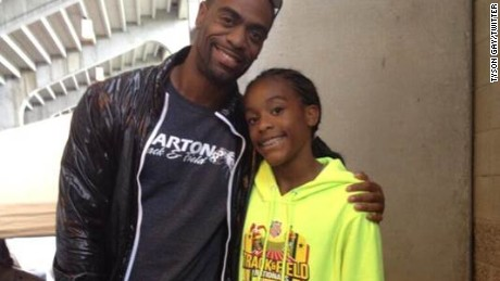 Olympian Tyson Gay spoke of helping to nuture the athletic aspirations of his daughter, Trinity.