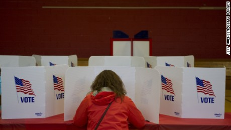 Ohio voters go to the polls for the Ohio primary at Franklin Elementary School on March 15, 2016 in Kent, Ohio.