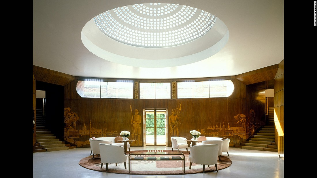 "Swedish architect Rolf Engstromer designed <a href=""http://www.english-heritage.org.uk/visit/places/eltham-palace-and-gardens/"" target=""_blank"">Eltham Palace</a>'s supremely elegant art deco interiors, including the curved entrance hall with concrete dome skylight. The 1930s interiors contrast sharply with the palace's original medieval exterior and Great Hall."