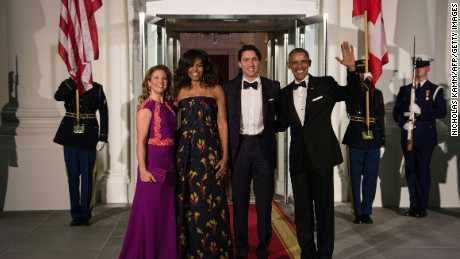 The Trudeaus and the Obamas at the White House on March 10.