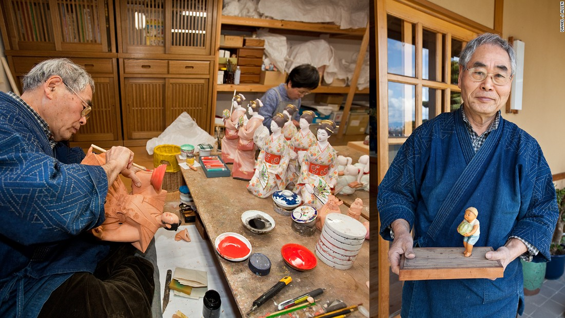 "Takeyoshi has dedicated his entire working life to the creation of ningyo. Today his dolls sell in outlets across Japan for up to ¥1.6 million (US$20,000). ""I remember the first doll I made when I was 17,"" he explains. ""It was a small boy holding a watermelon. From then on I was hooked. I'm as passionate about my work as I was 53 years ago, although hopefully my skills have improved a little. I don't think I'll ever retire."""