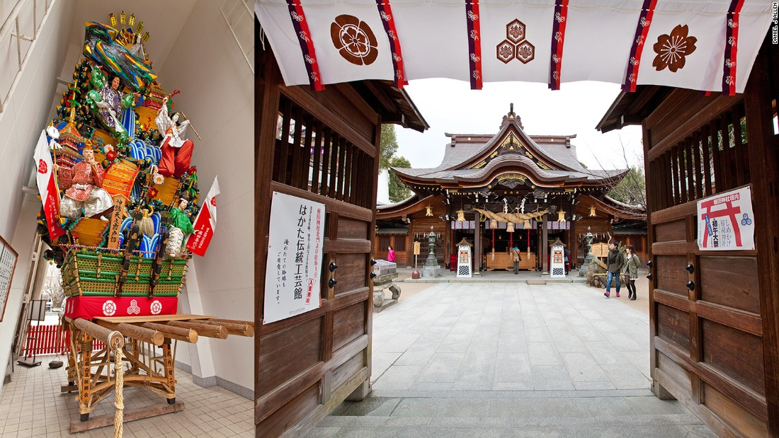 Those not passing through Fukuoka in July can still see a magnificent kazariyamakasa on display outside the delightful Kushida Shrine, which makes a great place to begin a city tour. Dating back nearly 1,300 years, Kushida is Fukuoka's most venerable shrine, dedicated to the three gods of Shinto.