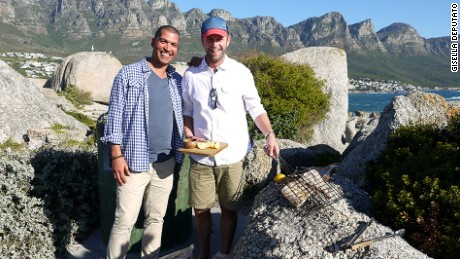 "Riffel meets Jan Scannell -- founder of South Africa's Braai Day -- while filming ""Culinary Journeys."""