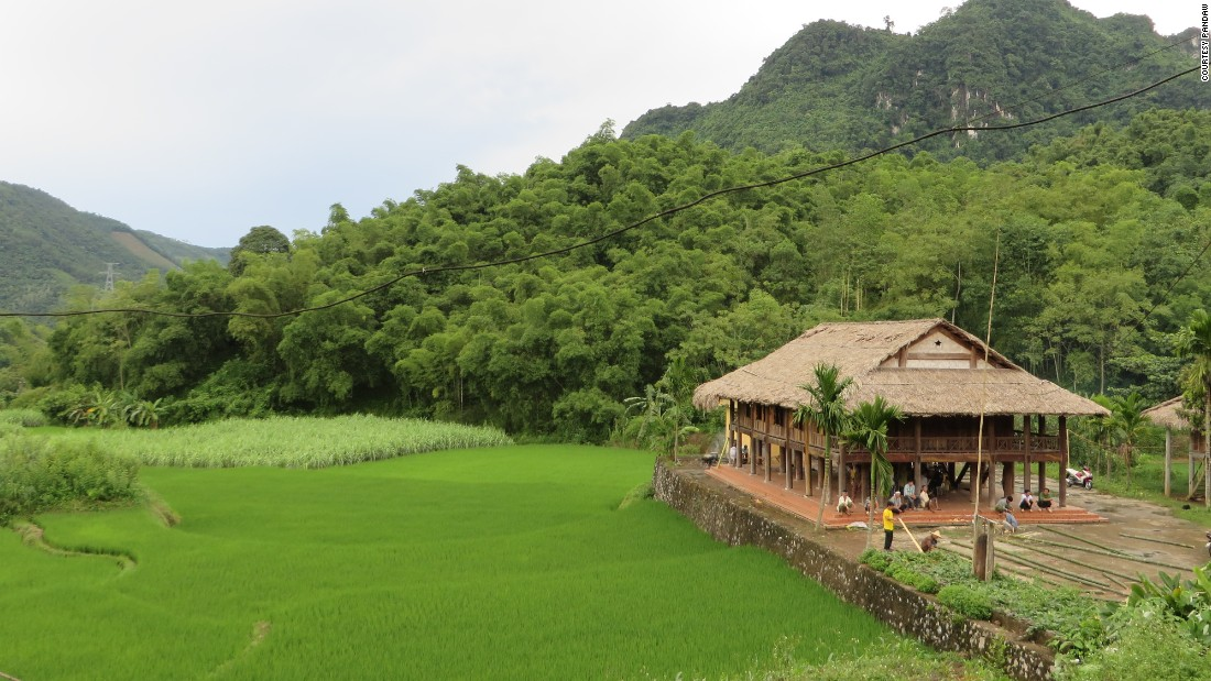 A Muong Village in Hoa Binh. The RV Angkor Pandaw anchors frequently at villages and small ports, either to pick up provisions from the local market or let the passengers take in an excursion or two.