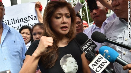 Ferdinand Marcos' daughter Imee speaks at a rally in support of the re-internment in October.