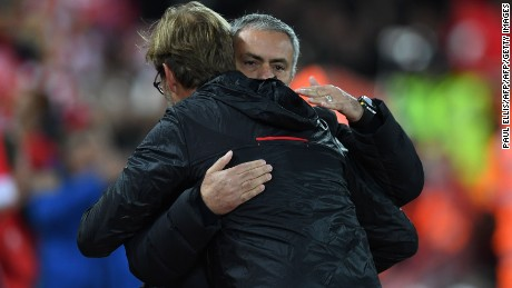 Jose Mourinho and Jurgen Klopp watched their sides play out a goalless draw at Anfield.