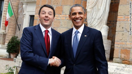 President Barack Obama meets Italian Premier Matteo Renzi at Villa Madama on March 27, 2014 in Rome, Italy.