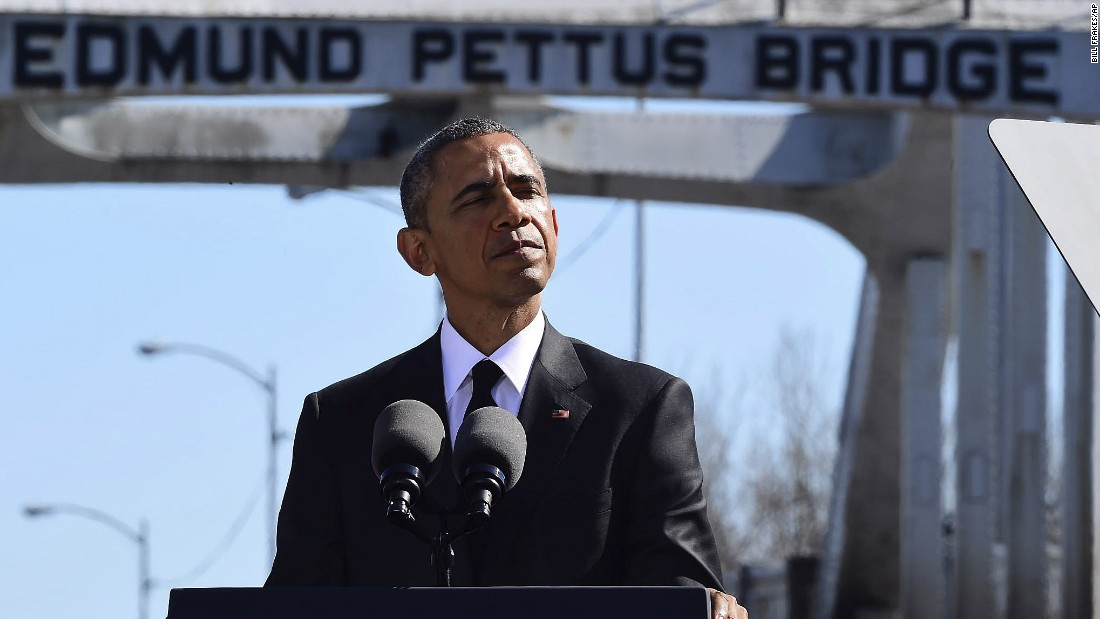 President Obama speaks near the Edmund Pettus Bridge in Selma, Alabama, on March 7, 2015, to mark 50 years since the Bloody Sunday march there -- a turning point in the civil rights movement. The speech is considered one of Obama's best, and his new definition of what makes America great.