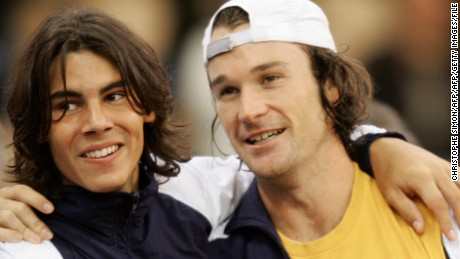 Nadal and Moya were former Davis Cup teammates, celebrating here after a 2004 final triumph.