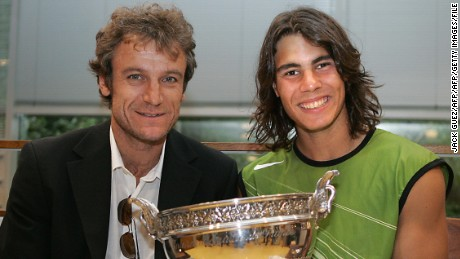 Wilander with Nadal in 2005, after the Spaniard's first of nine French Open titles.
