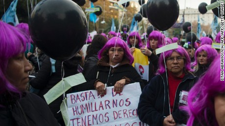 "Women take part in the ""Ni una menos"" (Not One Less) march against femicides in Buenos Aires, on June 3, 2016. / AFP / EITAN ABRAMOVICH        (Photo credit should read EITAN ABRAMOVICH/AFP/Getty Images)"