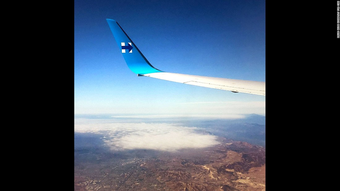 The view from Clinton's campaign plane on October 14.
