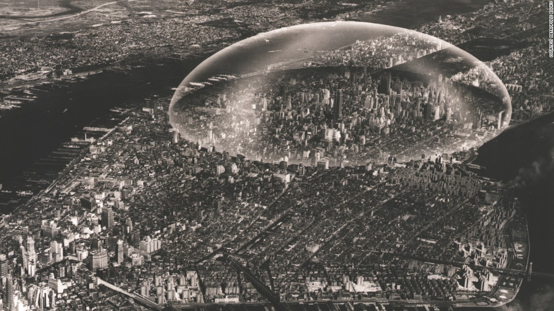 "Fuller's attempt to shield a portion of Manhattan from the elements originated in July 1950 with an idea for a half-mile wide geodesic dome he called ""Noah's Ark #2."" Fuller thought that among the benefits of these would be the need to clear snow and ice from roadways and regulating extreme temperatures within. <br /><br />""Future cities may have all housed activity -- dwelling, commercial and administrative -- within the dome shell, reserving whole interior of dome for a tropically gardened public park and community building area,"" wrote Fuller, who anticipated ascending roadways and high-speed vertical transport links to boot. Smaller scale versions proved structurally feasible, but 50 years on Manhattan has yet to greenlight the idea."